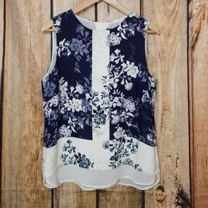 Rose & Olive Medium Tank Blouse Floral Print